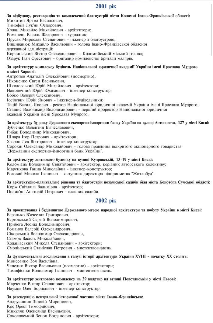 ЛАУРЕАТИ   ДЕРЖАВНОЇ ПРЕМІЇ УКРАЇНИ В ГАЛУЗІ АРХІТЕКТУРИ  З 1988 Р. ПО 2010 Р.