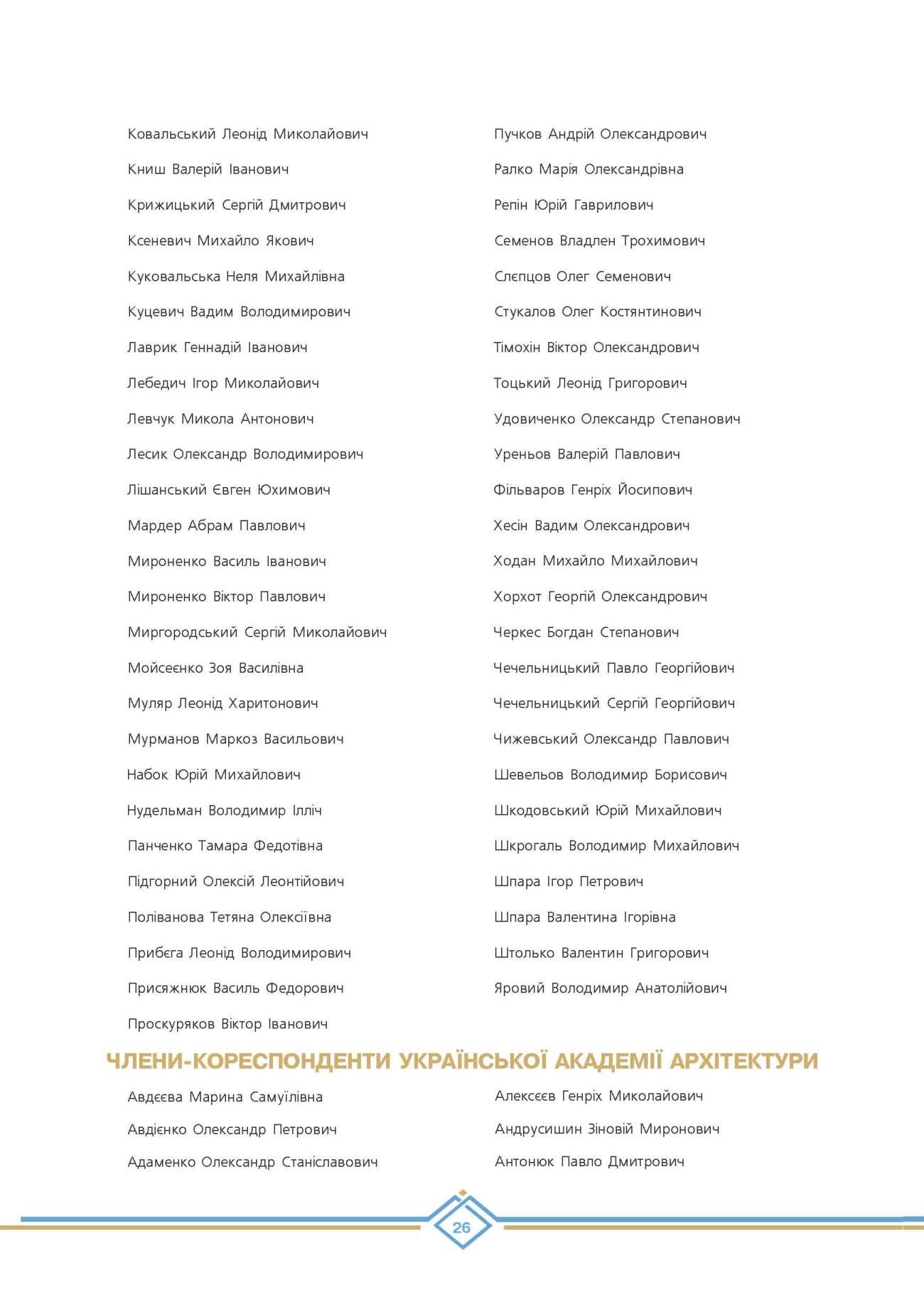 Дійсні члени Української академії архітектури