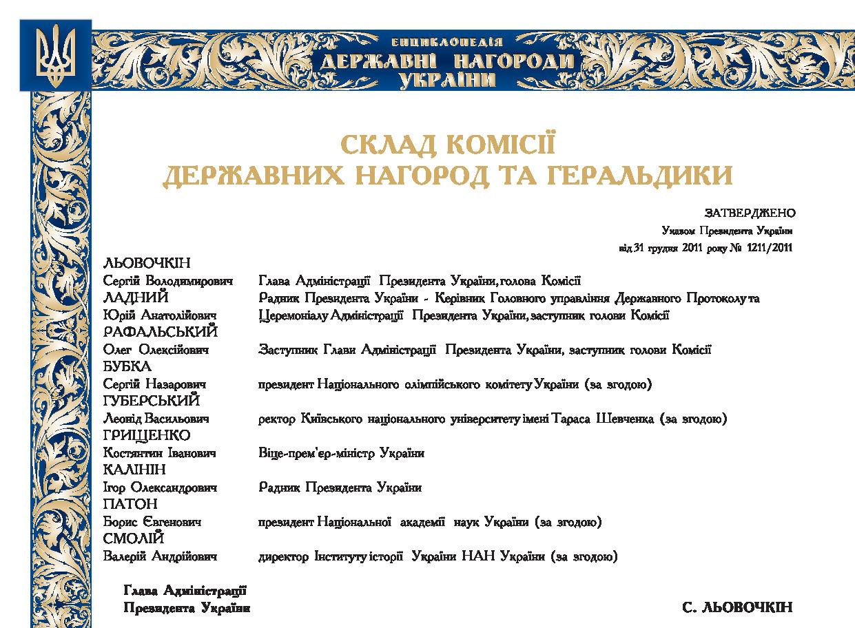 Склад комісії державних нагород та геральдики