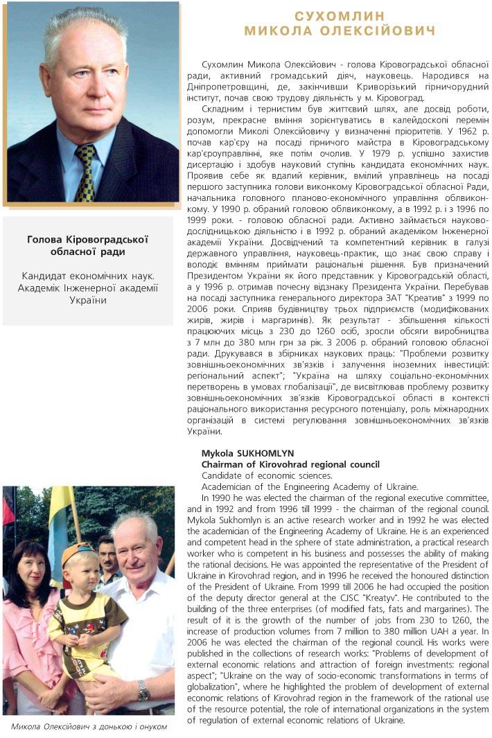 СУХОМЛИН МИКОЛА ОЛЕКСІЙОВИЧ - ГОЛОВА КІРОВОГРАДСЬКОЇ ОБЛАСНОЇ РАДИ