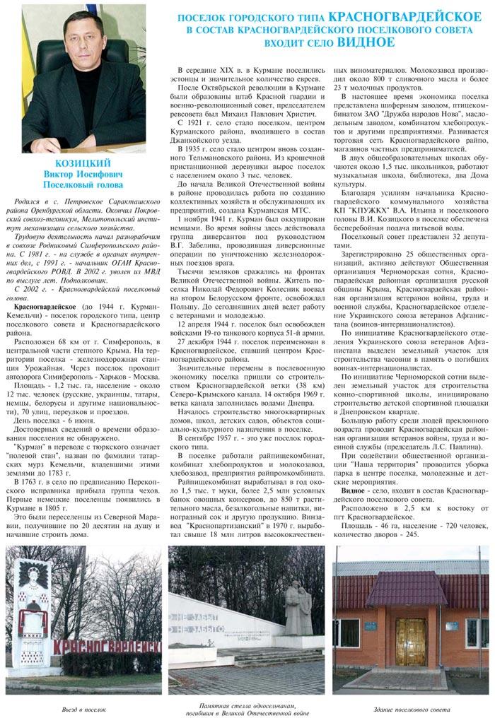 ПОСЕЛОК ГОРОДСКОГО ТИПА КРАСНОГВАРДЕЙСКОЕ
