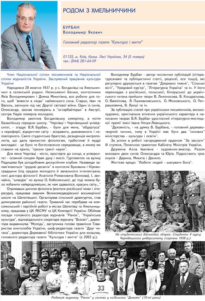 БУРБАН ВОЛОДИМИР ЯКОВИЧ - ГОЛОВНИЙ РЕДАКТОР ГАЗЕТИ