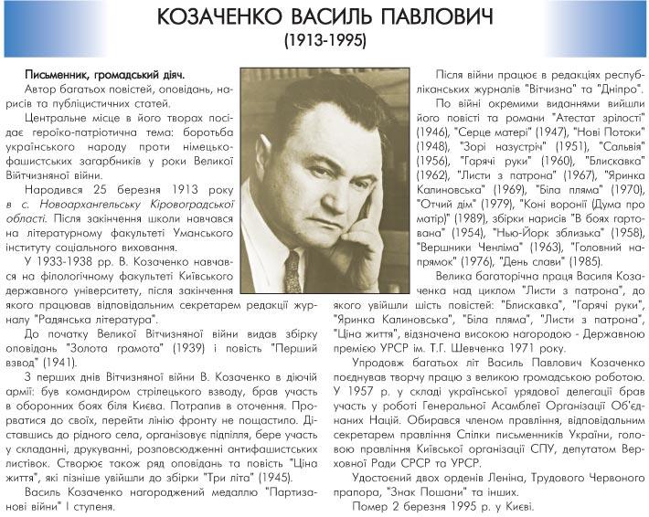 КОЗАЧЕНКО ВАСИЛЬ ПАВЛОВИЧ (1913-1995) - ПИСЬМЕННИК, ГРОМАДСЬКИЙ ДІЯЧ
