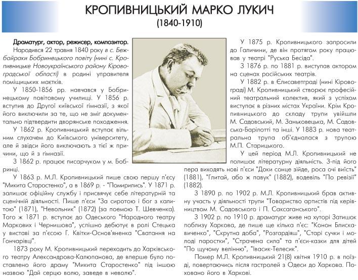 КРОПИВНИЦЬКИЙ МАРКО ЛУКИЧ (1840-1910) - ДРАМАТУРГ, АКТОР, РЕЖИСЕР, КОМПОЗИТОР