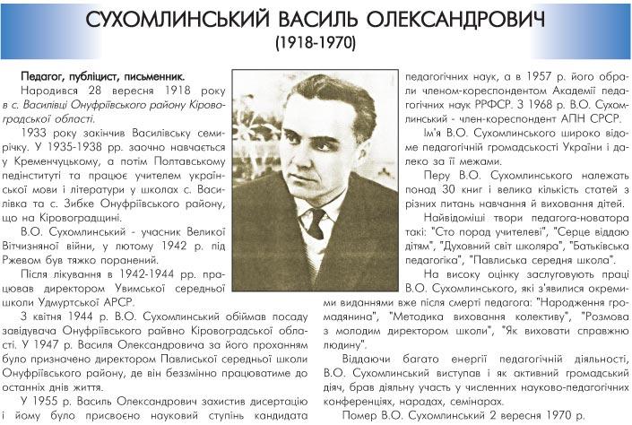 СУХОМЛИНСЬКИЙ ВАСИЛЬ ОЛЕКСАНДРОВИЧ (1918-1970) - ПЕДАГОГ, ПУБЛІЦИСТ, ПИСЬМЕННИК