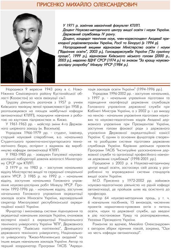ПРИСЕНКО МИХАЙЛО ОЛЕКСАНДРОВИЧ