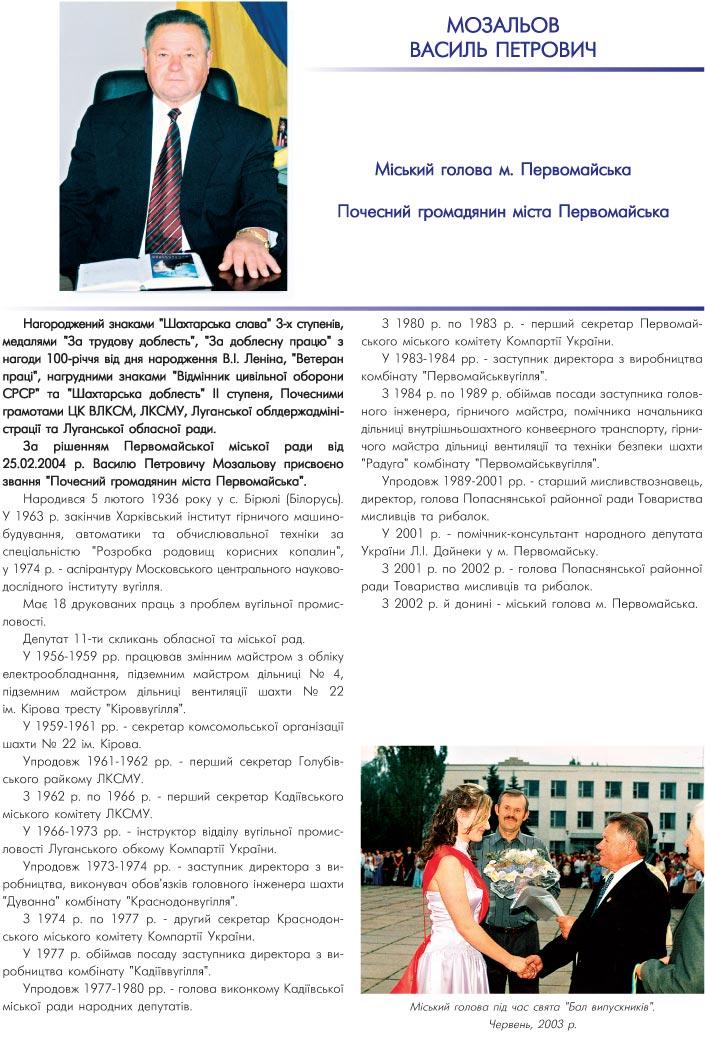 МОЗАЛЬОВ ВАСИЛЬ ПЕТРОВИЧ - МІСЬКИЙ ГОЛОВА М. ПЕРВОМАЙСЬКА