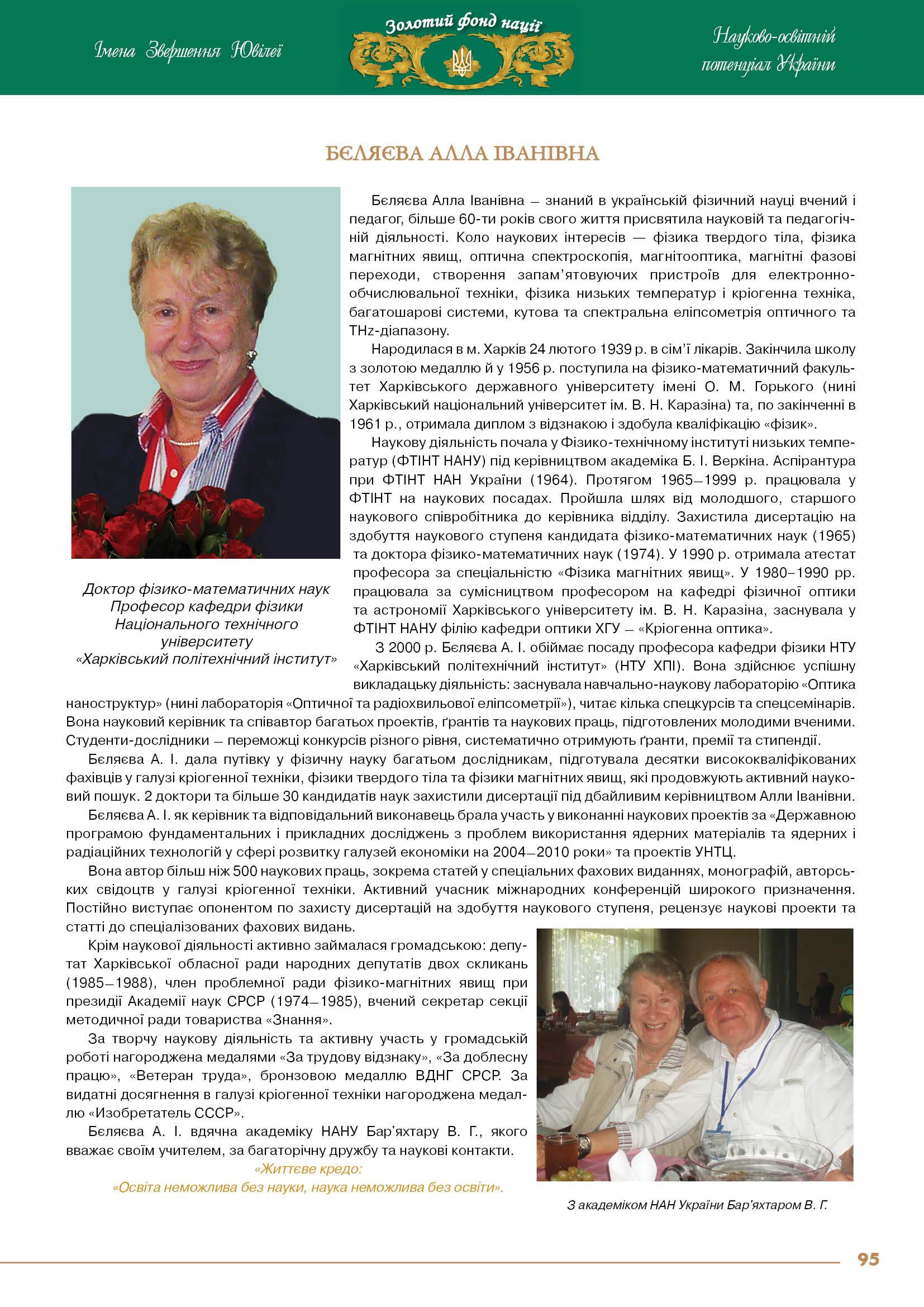 Бєляєва Алла Іванівна