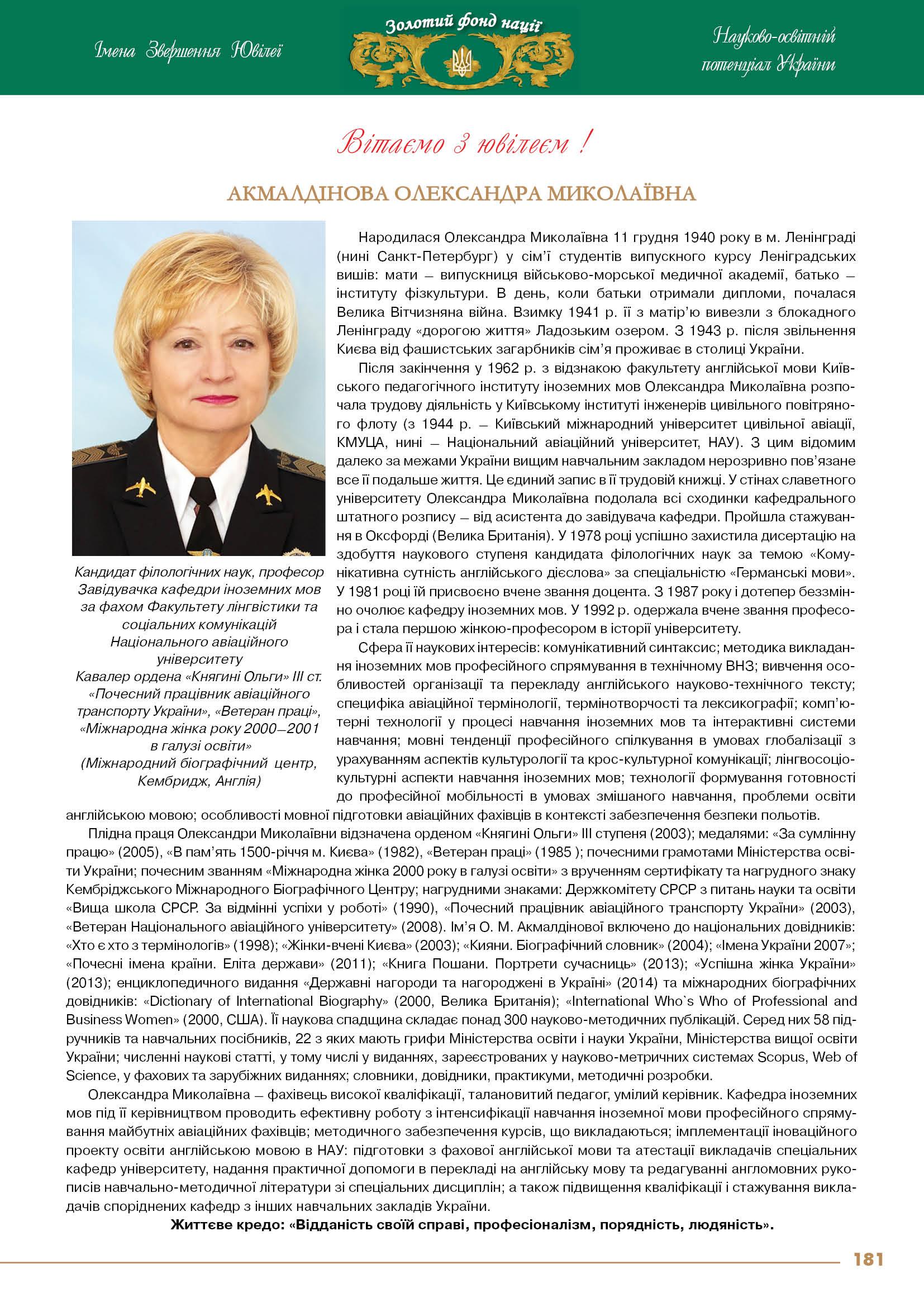Акмалдінова Олександра Миколаївна