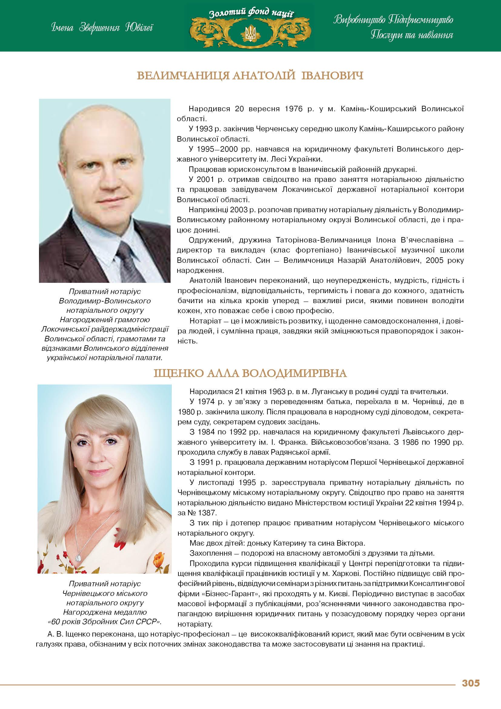 Велимчаниця Анатолій Іванович, Іщенко Алла Володимирівна
