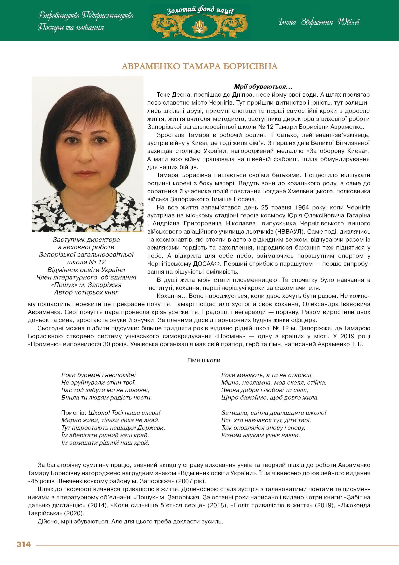 Авраменко Тамара Борисівна