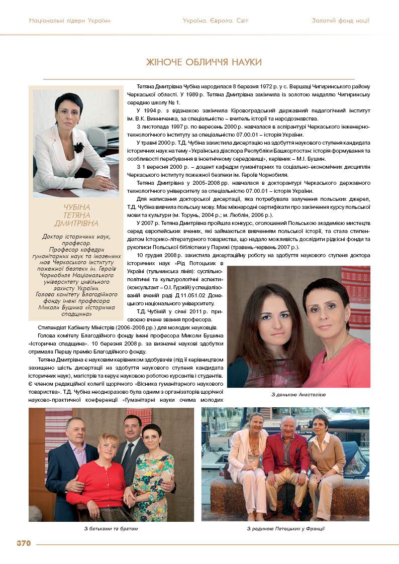 Чубіна Тетяна Дмитрівна