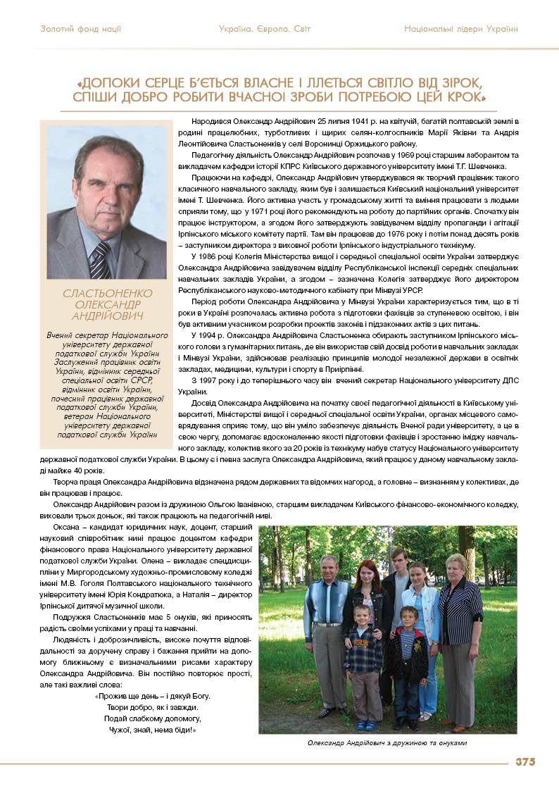 Сластьоненко Олександр Андрійович