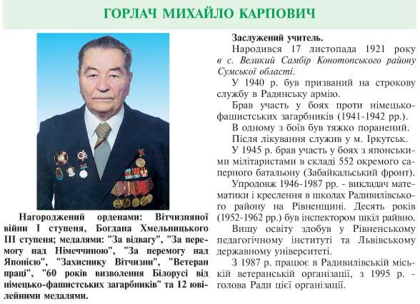 ГОРЛАЧ МИХАЙЛО КАРПОВИЧ