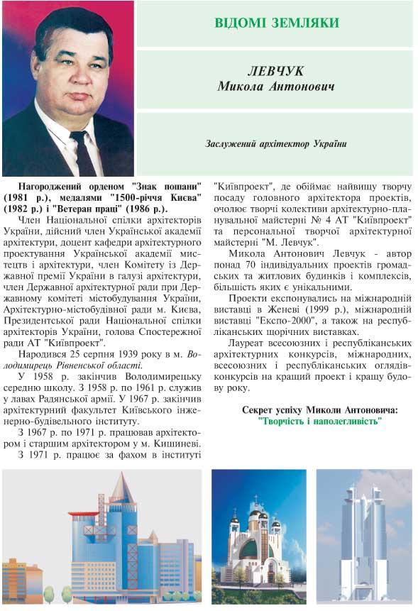ЛЕВЧУК МИКОЛА АНТОНОВИЧ - ЗАСЛУЖЕНИЙ АРХІТЕКТОР УКРАЇНИ
