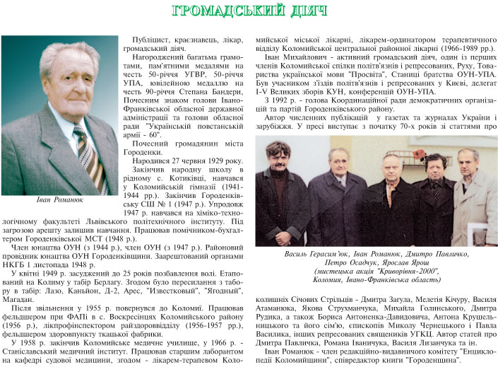 ГРОМАДСЬКИЙ ДІЯЧ - ІВАН РОМАНЮК